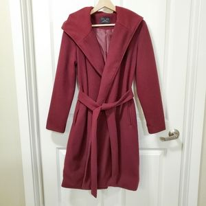 Love Tree Burgundy Red Hooded Belt Trench Coat
